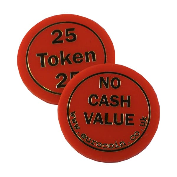 """25"" Red plastic token"