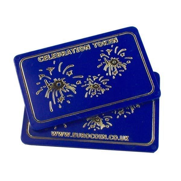 """""""Celebration Token""""  Blue plastic rectangular token"""