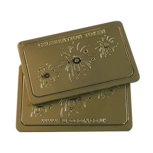 """""""Celebration Token"""" Gold plastic rectangular token"""