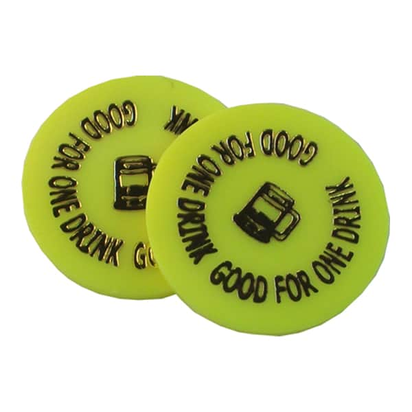 """Good for one drink"" Yellow plastic token"