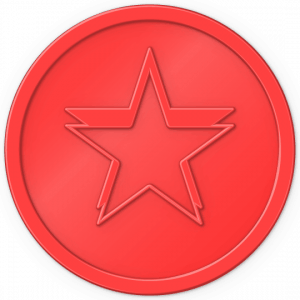 Plastic tokens red star