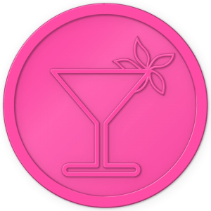 plastic tokens - cocktail flower token Pink