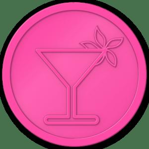 plastic tokens - cocktail flower token Pink