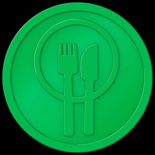 plastic tokens - food token Light Green