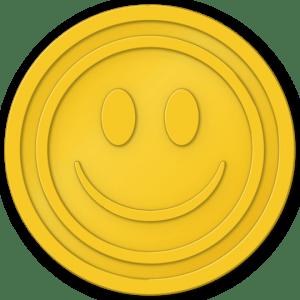 plastic tokens - smiley face token Yellow