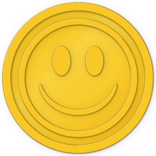plastic tokens - smiley face token Yellow