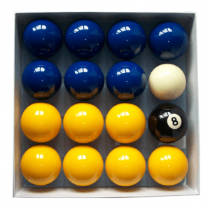 "2"" inch blue and yellow pool balls standard uk set 16 piece white cue ball black 8 ball"