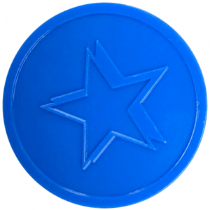 BLUE star embossed tokens bag of 100