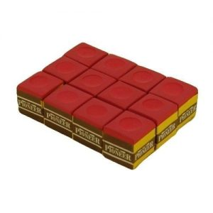 red Pioneer snooker pool billiards cue Chalk