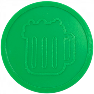 green beer drink pint party events embossed tokens bag of 100