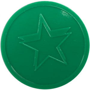 green star embossed tokens bag of 100