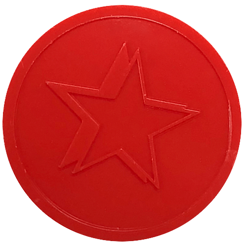 Red Star Embossed Both Sides 29mm Plastic Tokens Event Party Wedding