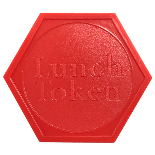 HEXAGON PLASTIC LUNCH RED TOKENS EMBOSSED BOTH SIDES FETE MEAL EVENT SCHOOL DINNER - 100