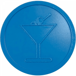 blue cocktail drink glass party events embossed tokens bag of 100