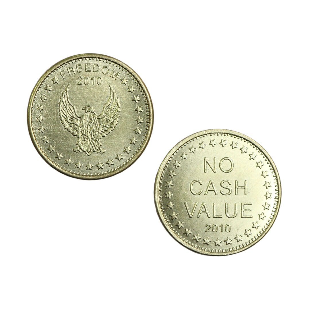 Freedom Eagle No Cash Value Brass Coin Tokens – 27 8mm x 2 0mm (bag of 250)