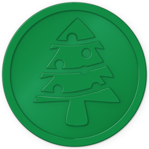 plastic tokens - christmas tree token green