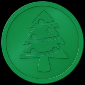 plastic tokens - christmas tree token green