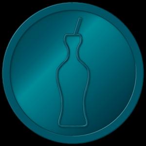 plastic tokens - smiley bottle drink token Metalic Blue